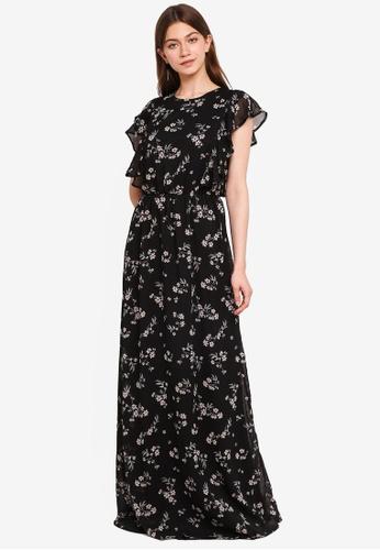 Mela London black Side Ruffle Print Maxi Dress 9E195AABAE2FE3GS_1