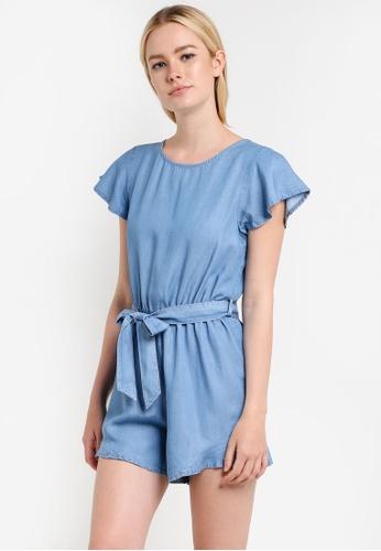 Miss Selfridge blue Angel Sleeve Playsuit MI665AA89RUCMY_1