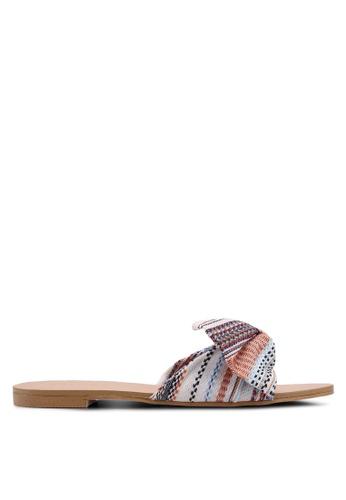 ZALORA beige Tweed Bow Sandals 2AA47SH8CD6359GS_1