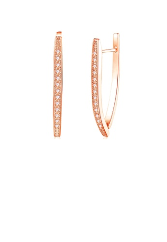 Glamorousky white Simple Plated Rose Gold Cubic Zircon Earrings 12FA8AC47E9338GS_1