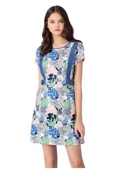 OUWEY歐薇 夏日棕櫚葉印花配色洋裝