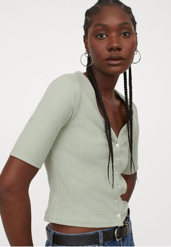 H&M green Ribbed Top 182F8AAA78EEE3GS_1