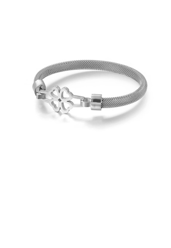 Glamorousky silver Simple and Elegant Hollow Four-leafed Clover 316L Stainless Steel Bangle 61458AC32CE87DGS_1
