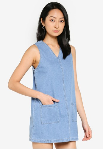 ZALORA BASICS blue Denim Shift Dress with Pockets 25379AA2AB4260GS_1