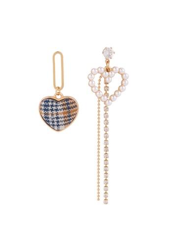 YOUNIQ gold YOUNIQ Basic Korean Checker Blue Orange Vintage Pearl Long Dropped Heart Shape AB Earrings B0384ACE5C17F3GS_1