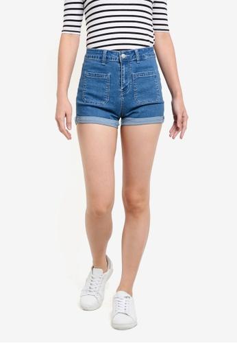 ZALORA blue Denim High-Rise Patch Pocket Denim Shorts 82120ZZFF3FAF9GS_1