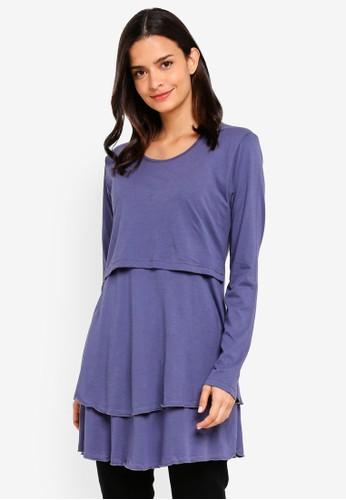 Aqeela Muslimah Wear purple Layered Nursing Top F723FAAB92926BGS_1