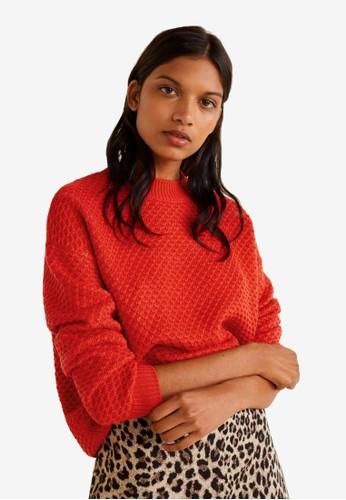 MANGO red Chunky-Knit Sweater 360E2AAEA76416GS_1