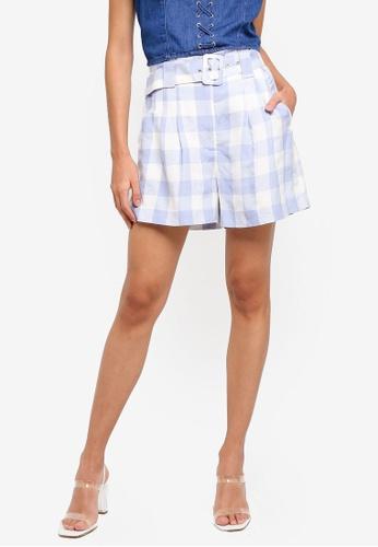 Forever New blue Laila Gingham High Waist Shorts B46E8AA9E564F6GS_1