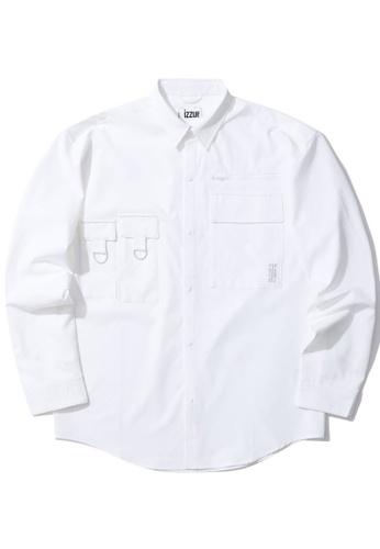 izzue white Flap pocket shirt 39B02AA39908EDGS_1