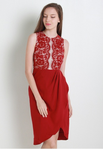 Leline Style red Vivan Lace Dress LE802AA77ZKGSG_1