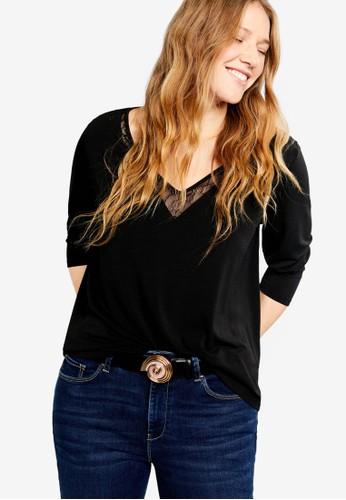 a2187a3c6ea Violeta by MANGO black Plus Size Lace Panel T-Shirt 79246AA525D720GS 1