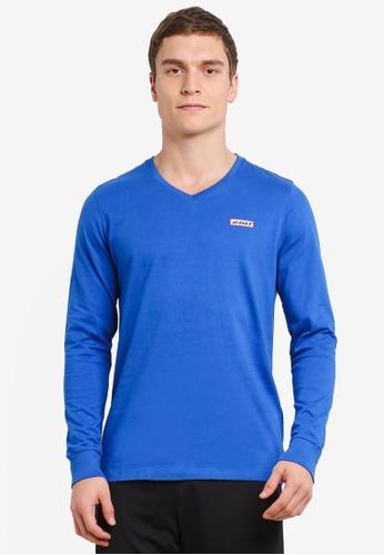 2GO blue Full Sleeve V-Neck T-Shirt 2G729AA0S5ZAMY_1