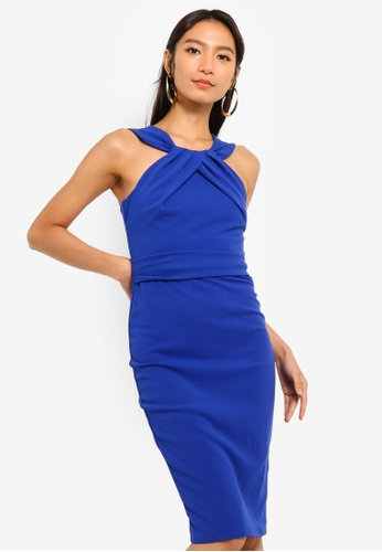 Goddiva blue Pleated Neckline Midi Dress 82BC7AA9D02D8AGS_1