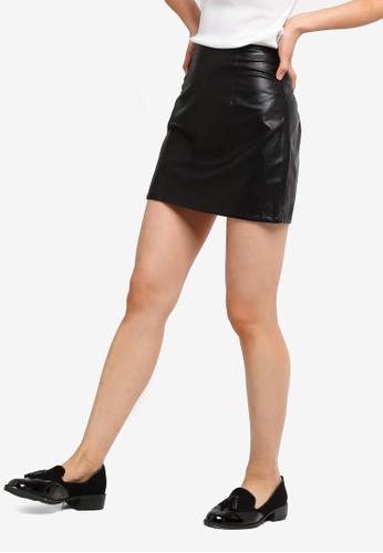 ZALORA BASICS black Basic Polyurethane Leather Skirt 05874AA102CEEDGS_1