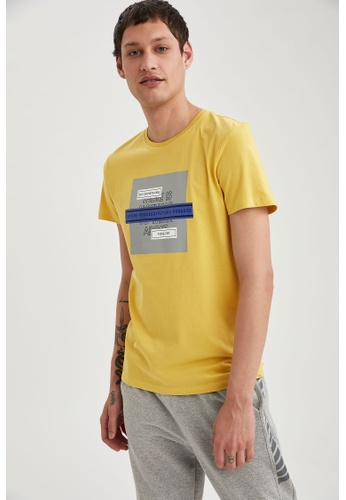 DeFacto yellow Man Knitted Graphic T-Shirt F31D8AAADE2BEFGS_1
