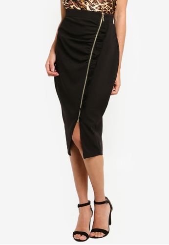 Vesper black Margot Midi Skirt With Frill 70BBCAA6985C53GS_1