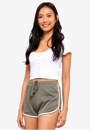 Supre white Snap Button Fitted Crop Tee 97431AAC2C6833GS_1