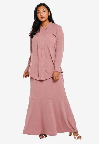 CURVA FABULOUS pink Ms Umairah Bodycon Kebaya Kurung 7FA1BAAB5AD446GS_1