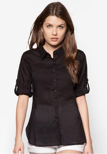 素色七分袖襯衫, 服飾, zalora 評價上衣