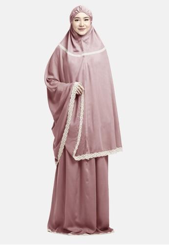 zelena pink Praying Set Mukena Maryam - Pink Blossom F13B7AA62D99A6GS_1