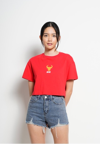 Fave red Women Crop Fashion Tee [Year Of Ox] E4126AAE0ACC9FGS_1