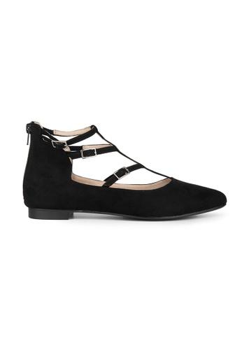 MAUD FRIZON black Faux Suede T-Strap Ballerina 06E2ASH7158996GS_1