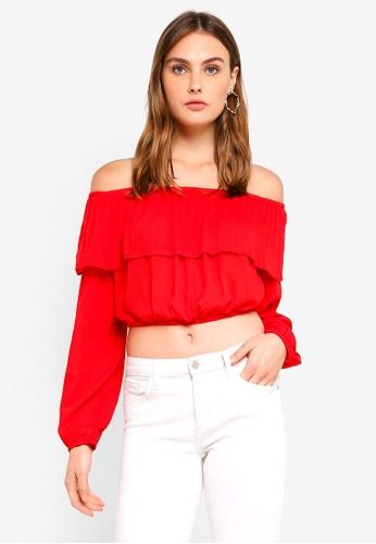 Glamorous red Frill Bardot Crop Top D6480AA9391882GS_1
