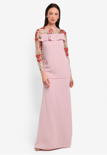 Alia B. pink Sophia Modern Kurung With Lace And Ruffle Detail AL946AA0STD1MY_1