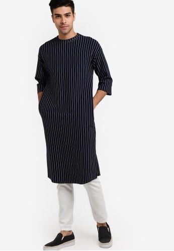 Rizalman for Zalora blue and navy Harrouda Long Shirt Top RI909AA55XIUMY_1