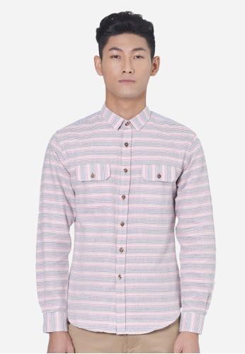 Private Stitch orange Stylish Shirt With Horizontal Dobby Stripe PR777AA63LROMY_1