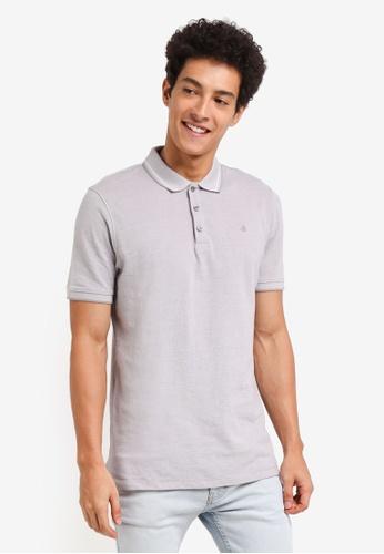 Burton Menswear London grey Dove Grey Two-Tone Pique Polo Shirt F7BC5AA09FEF18GS_1
