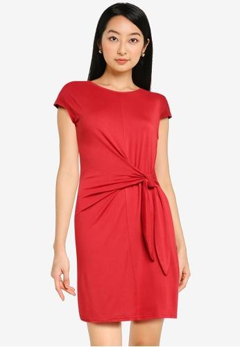 ZALORA BASICS red Knot Front T Shirt Dress 39015AACBFE447GS_1