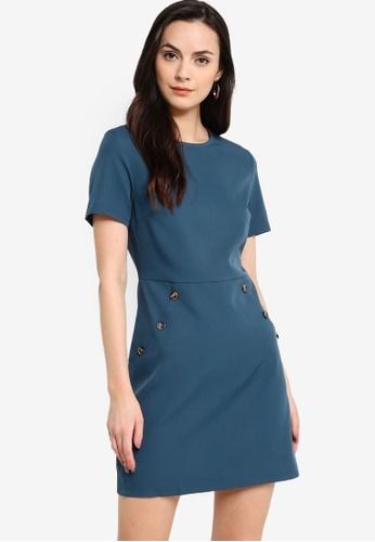 ZALORA WORK 綠色 Button Detail Mini Dress EE5DCAA01A2110GS_1
