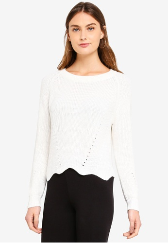 OVS white Knitted Pullover With Wavy Hemline 5EC5DAA33B98A1GS_1