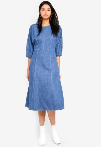 612d944a20 Buy ESPRIT Light Denim Midi Dress Online on ZALORA Singapore