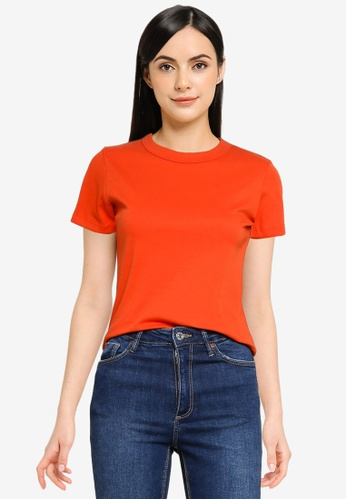 UniqTee orange Soft Cotton Relaxed Fit Crew Neck Tee 42EEFAABEA8452GS_1