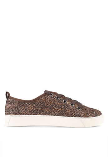 ZALORA brown Raffia Detail Sneakers 7687CSH01B8164GS_1