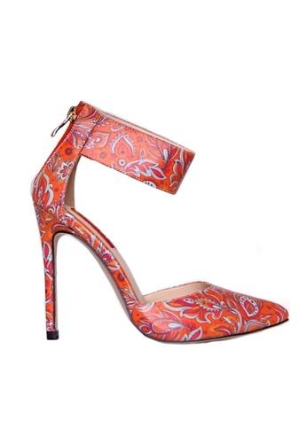 Glamorbit orange Ciara Batik Printed High Heels 78F92SHBA8A5E9GS_1