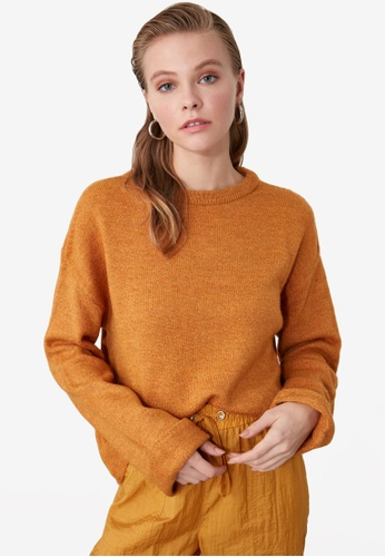 Trendyol yellow Crew Neck Cuff Sleeve Knit Sweater A5195AA01A43E6GS_1