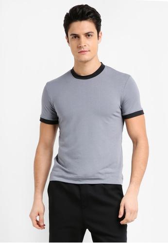 UniqTee 灰色 修身雙色短袖T恤 E0D36AA6046537GS_1