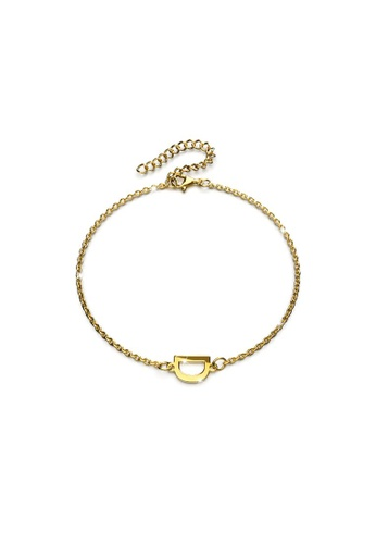 Bullion Gold gold BULLION GOLD Bold Alphabet Letter Initial Charm Bracelet in Gold Tone - D 50DA8AC11B6A6FGS_1