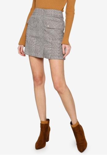 Hopeshow brown A-Line Button Fly Plaid Mini Skirt EE425AA2BB1B39GS_1
