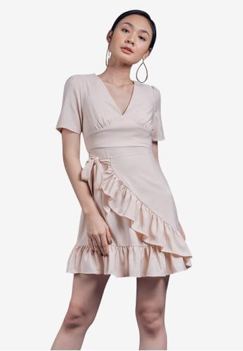Caoros beige Ruffled Mini Dress 59144AA8067DCCGS_1