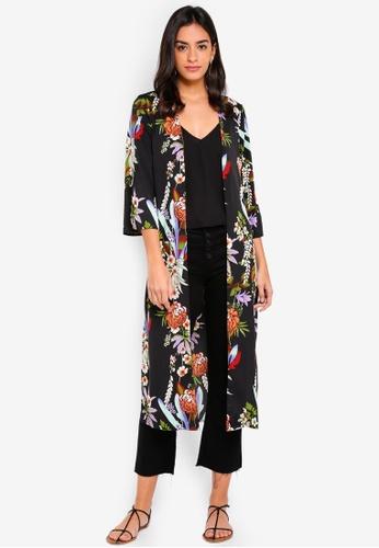 Pieces black Lily 3/4 Long Kimono Cardigan 428B1AA8E4D3B1GS_1
