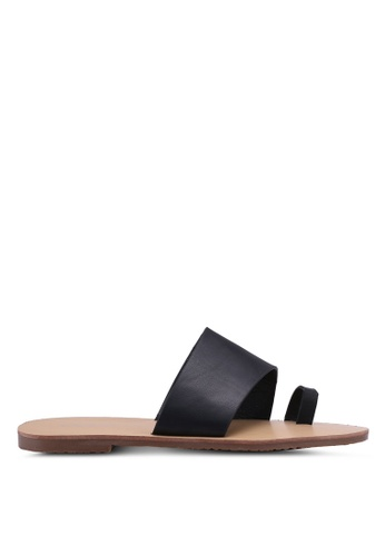 Something Borrowed black Basic Toe Strap Sandals B3E61SH063050CGS_1