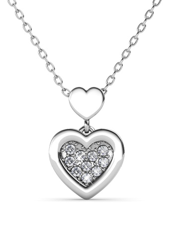 Her Jewellery gold Larine Love Pendant (White Gold) - Embellished with Crystals from Swarovski® 4357FAC24EFA98GS_1
