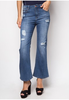 Styled Flare Jeans with Distress Detail