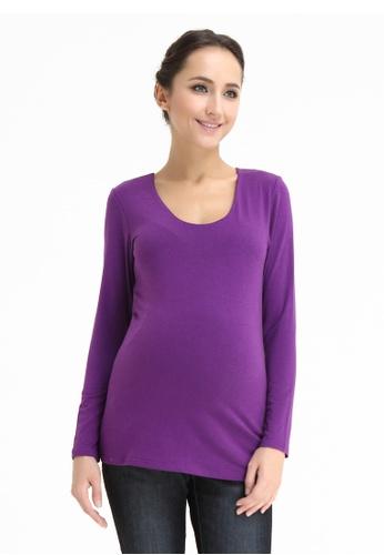 Bove by Spring Maternity purple Vera V Neck Nurs Top 21F11AA9DD0AFDGS_1