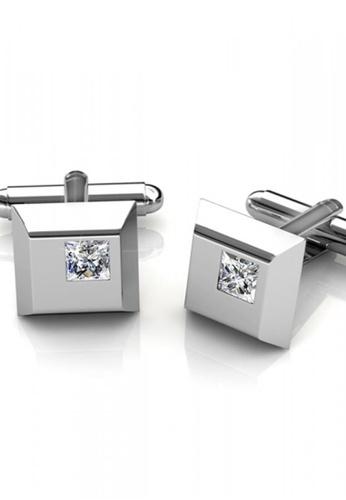 Her Jewellery silver Swarovski® Crystals - Square Cufflinks (18K White Gold Plated) Her Jewellery HE581AC0RAEPMY_1